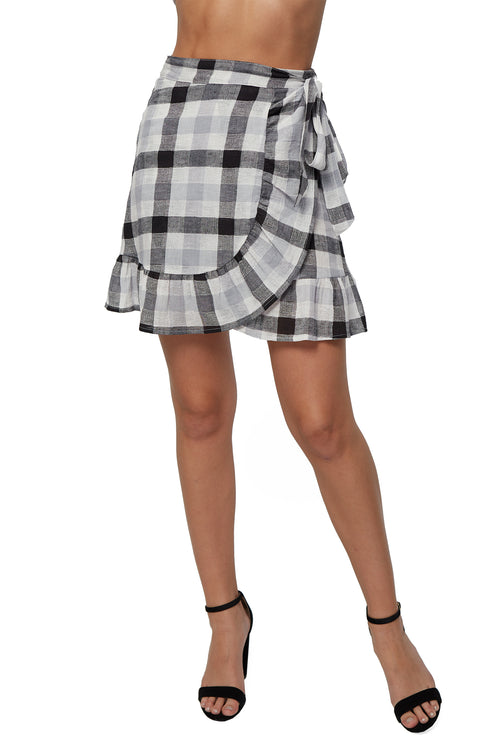 Franka Wrap Skirt - Checker Gauze