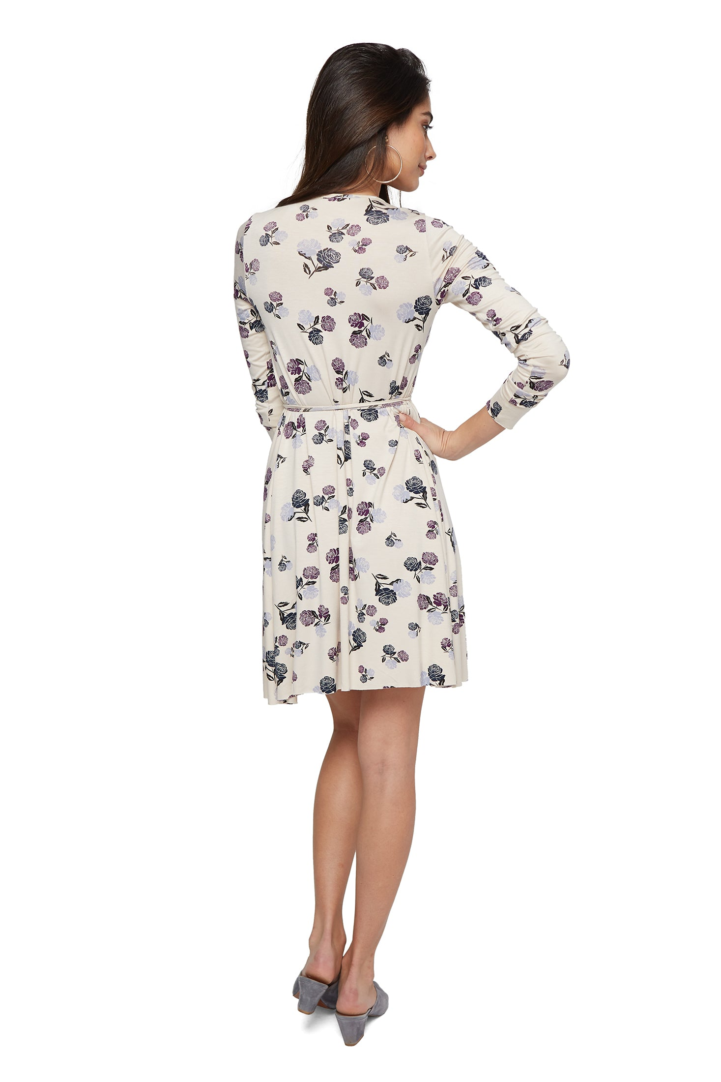 Janice Wrap Dress - Cream Rosette