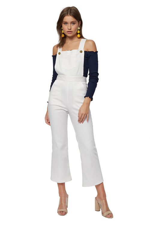 Lina Cropped Overall - White Denim