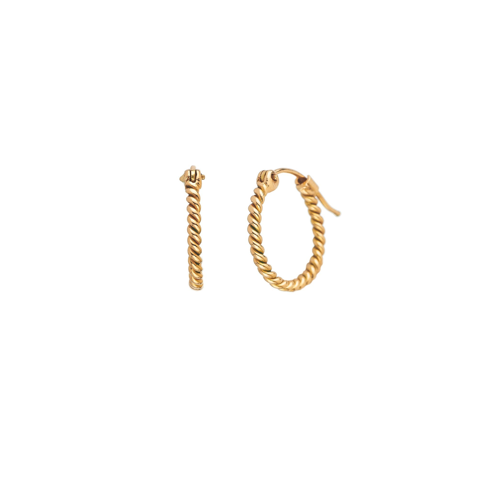 Rope Yellow Gold Small Hoops