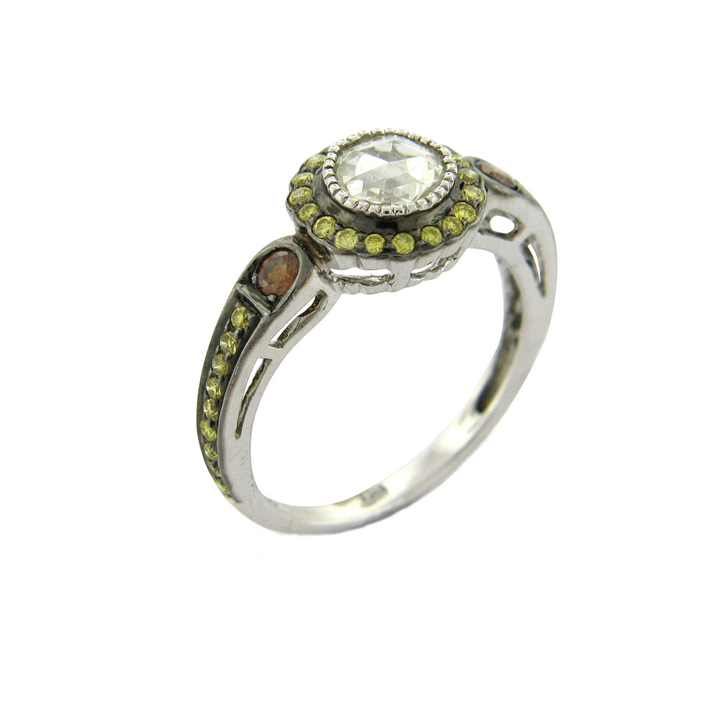 True Romance Rose Cut, Green, and Burnt Orange Diamond Ring