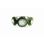 True Romance 3 Stone Rose Cut, Green, and Burnt Orange Diamond Ring