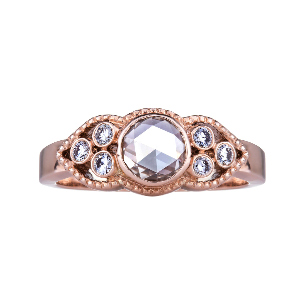 Ella Champagne Rose Cut Diamond Rose Gold Ring