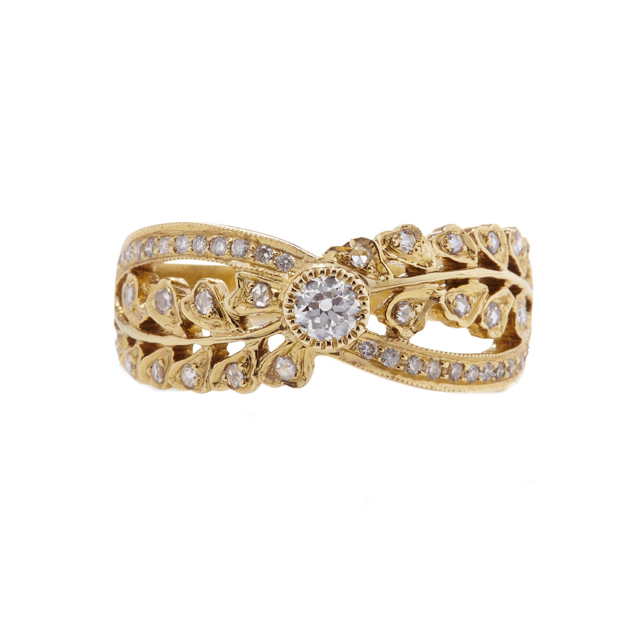 Ivy Rose and Old Mine Cut Yellow Gold Ring