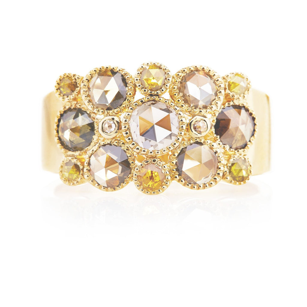 Josephine Rose Cut Multi-Color Diamond Yellow Gold Ring