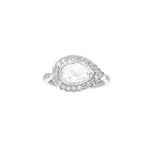 Victoria Pear Shape Rose Cut Diamond White Gold Ring