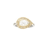 Victoria Pear Shape Rose Cut Diamond Two-Tone Ring