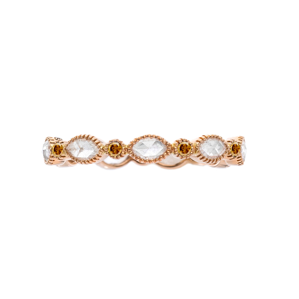 Amara Marquise Rose Cut and Burnt Orange Diamond Band
