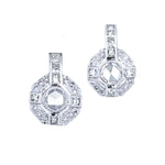 Moderne Rose Cut and Princess Cut Diamond Drop Earrings