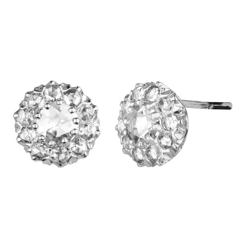 Venus Rose Cut Diamond Stud Earrings