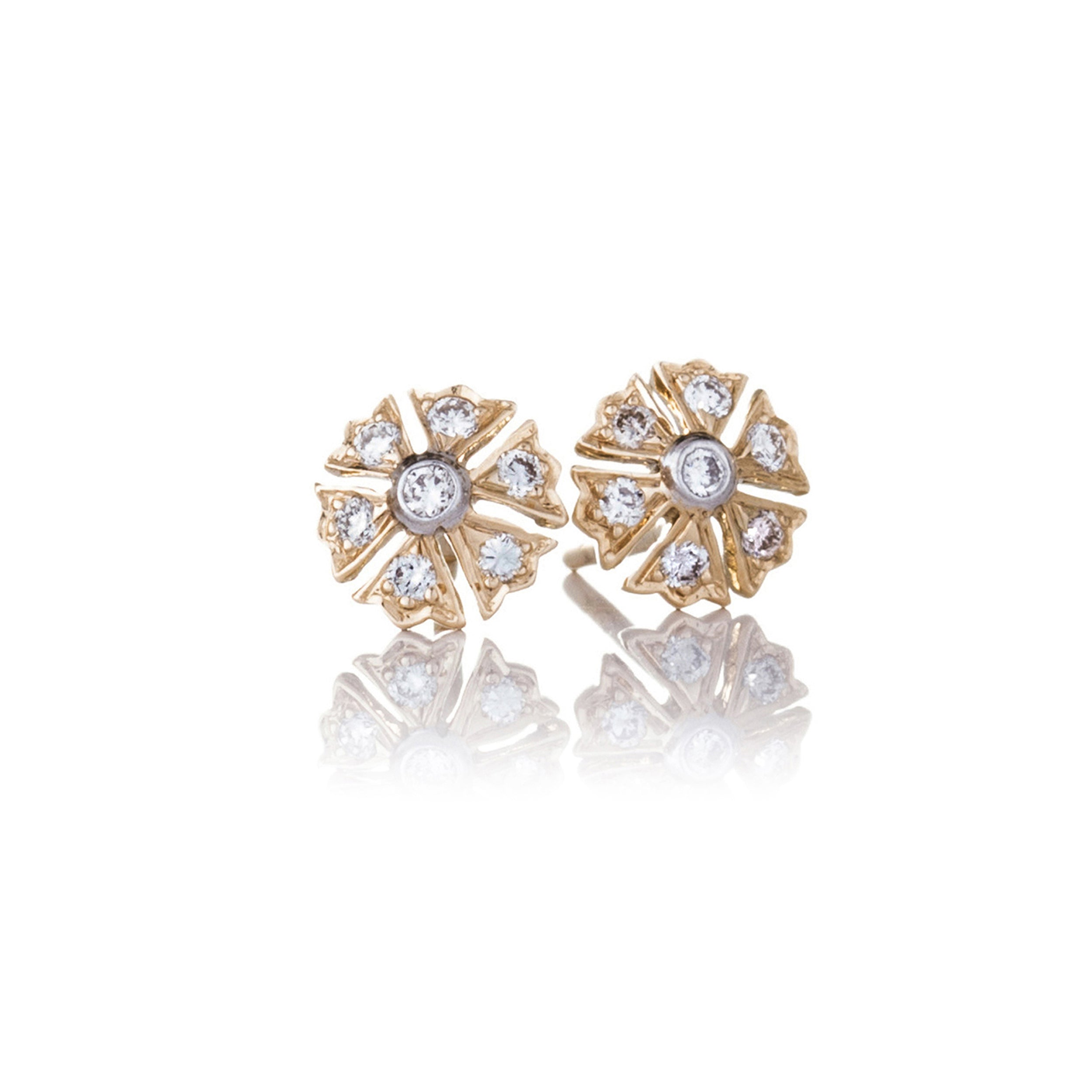 The Camelia Earrings - White and Gold