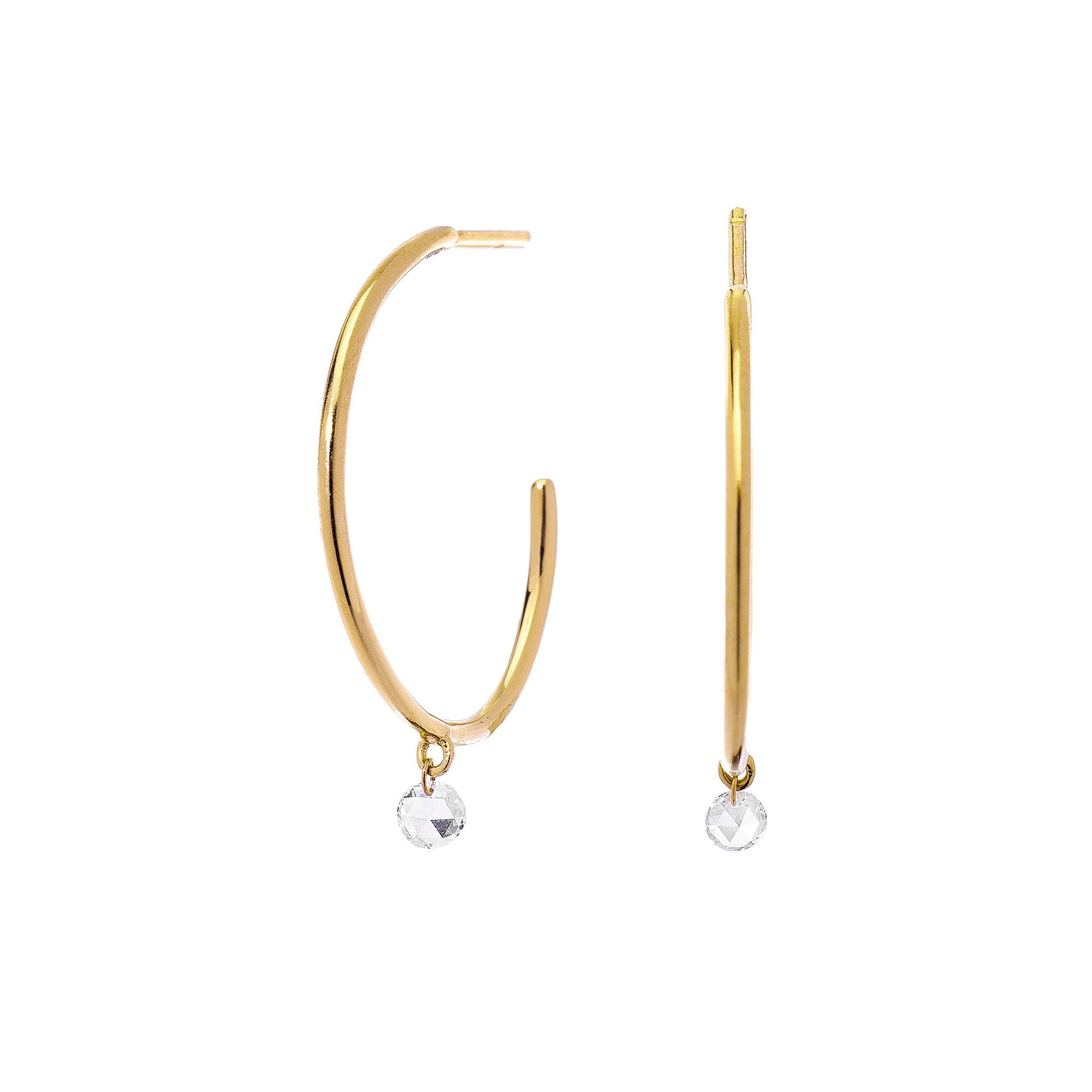 Cien Rose Cut Diamond Hoops
