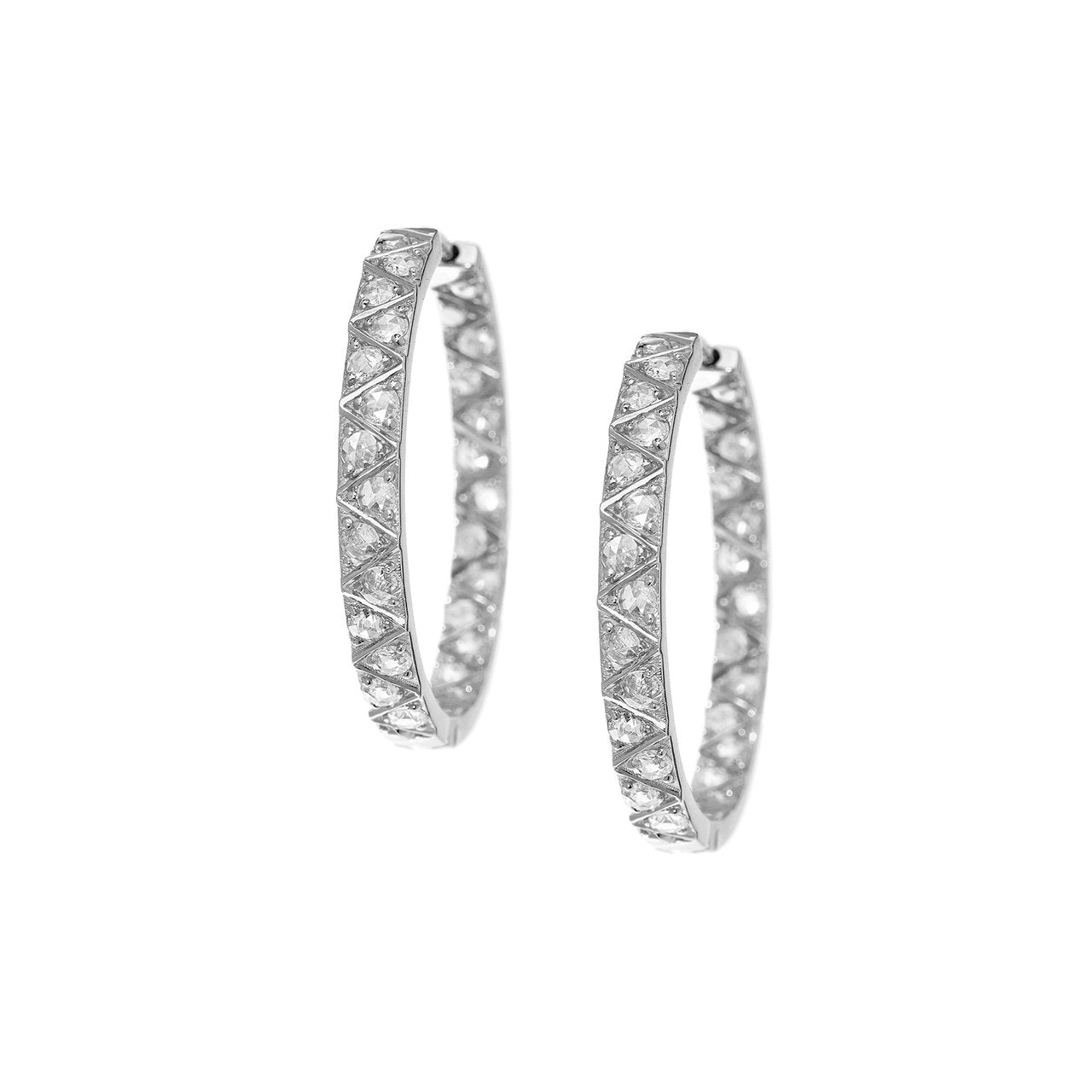 Stella Rose Cut Diamond Hoops
