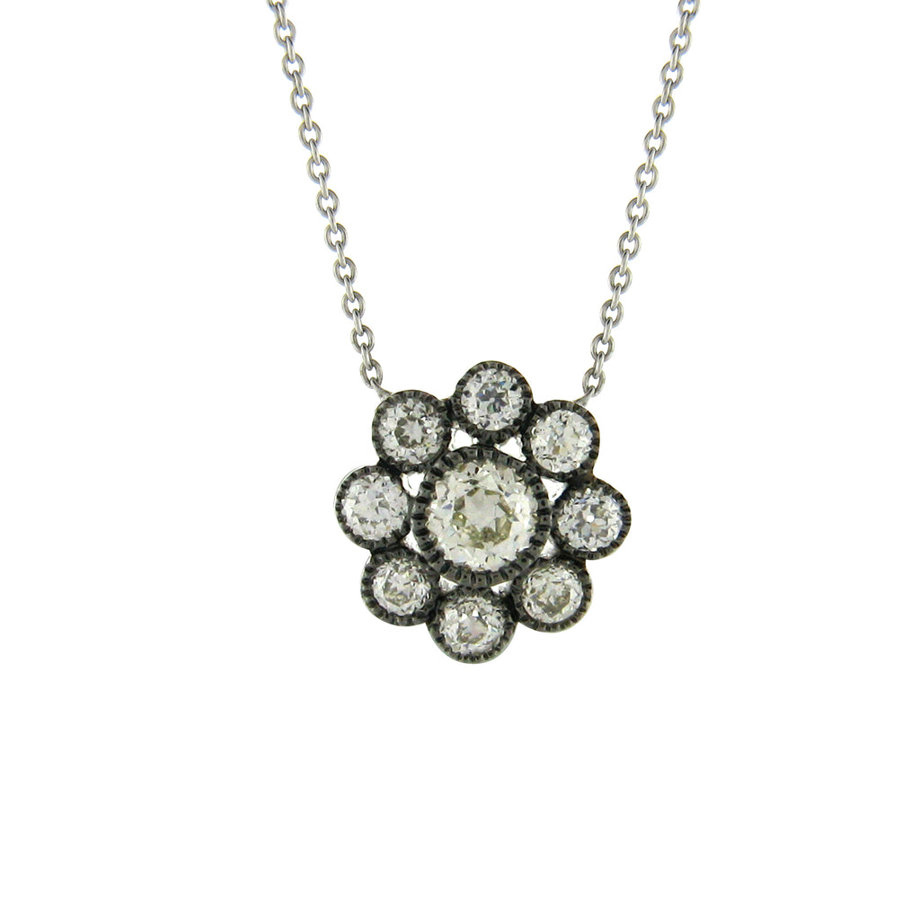 The Rosetta Necklace - White and Black Gold
