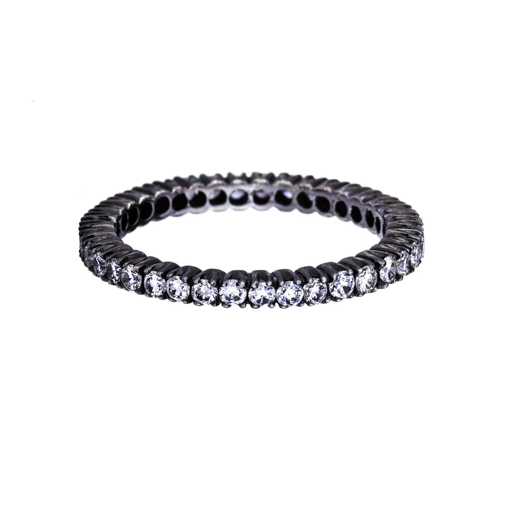 Prong White Diamond Black Rhodium Band
