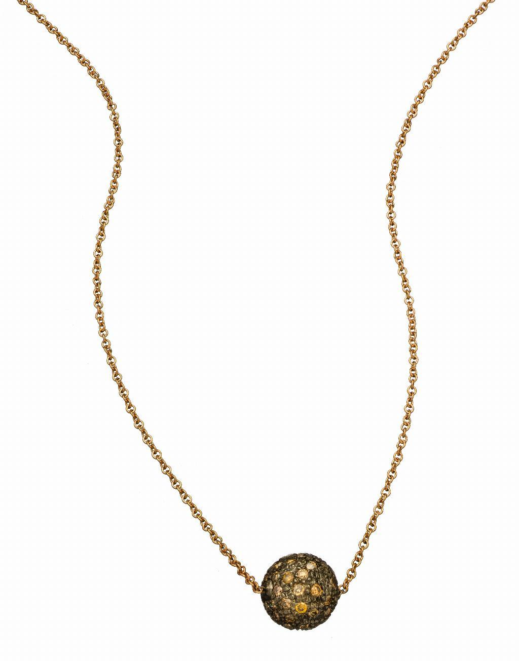 Disco Pavé Champagne Diamond Ball Necklace
