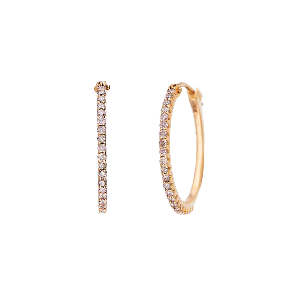 Simple Elegance Pink Diamond Small Hoops