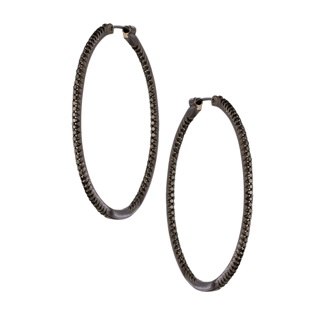 Simple Elegance Black Diamond Large Hoops