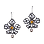Enchanted Garden Rose Cut and Champagne Briolette Drop Earrings