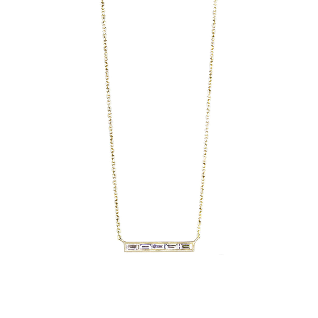 The Nova Necklace 5 Stone - White and Gold
