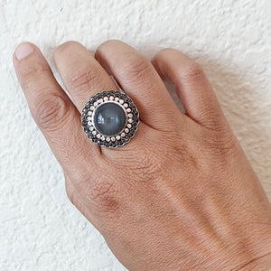 Moonstone White and Black Diamond Ring