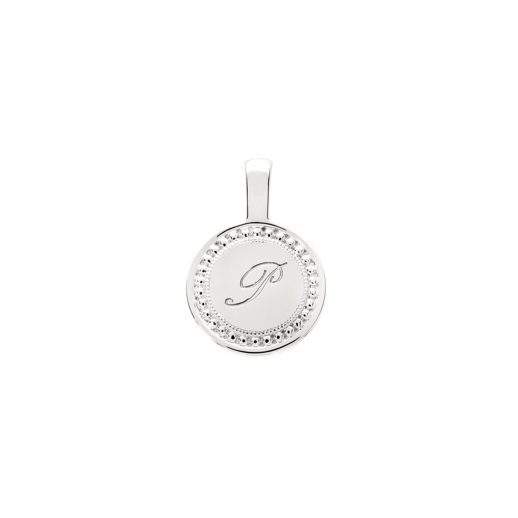 The PS Round Charm Small 18K White Gold