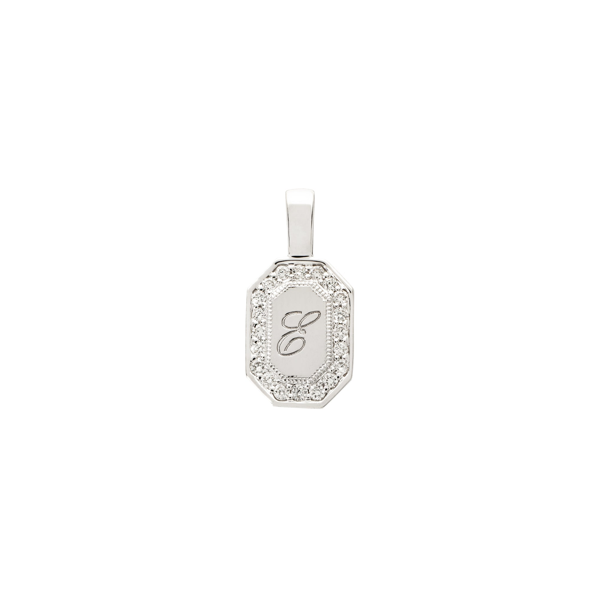 The PS Tag Charm Small with Diamonds 18K White Gold
