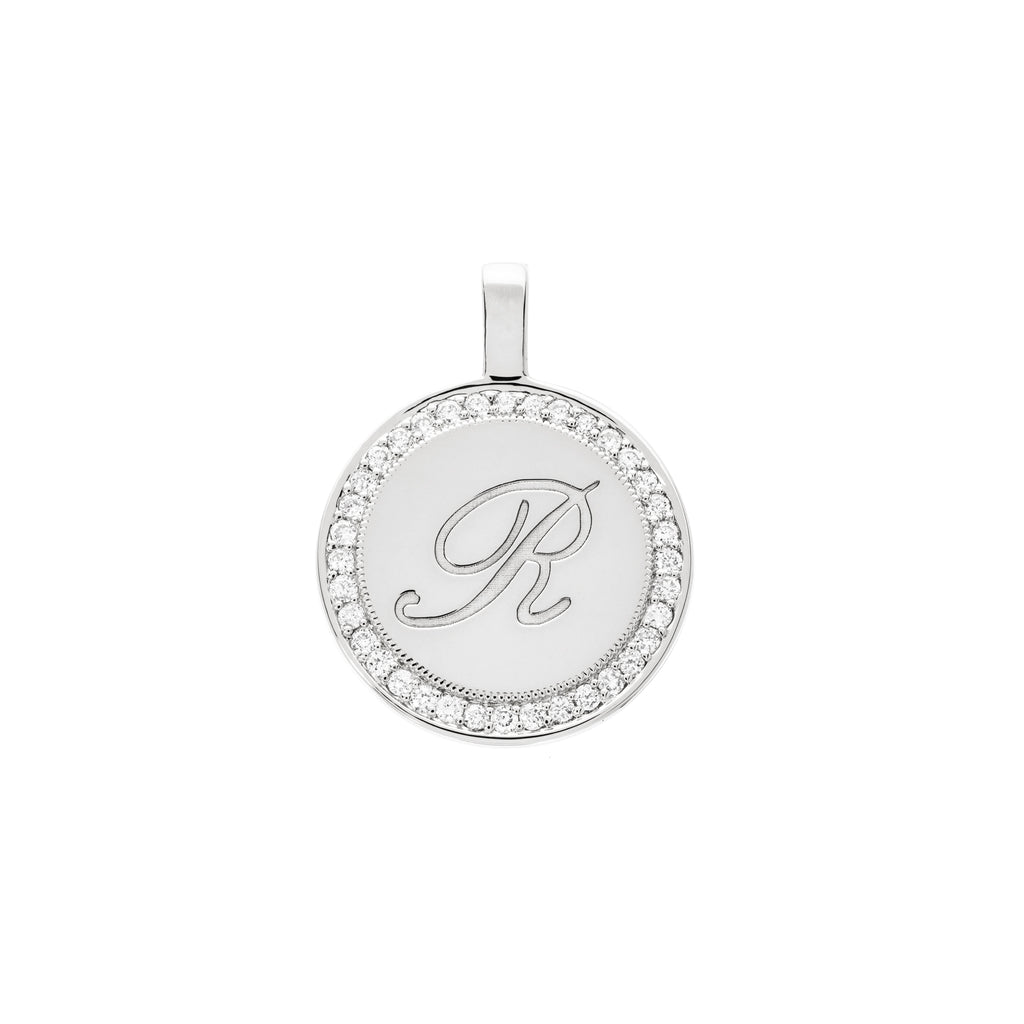 The PS Round Charm Large with Diamonds 18K White Gold