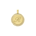 The PS Round Charm Large with Diamonds 18K Yellow Gold