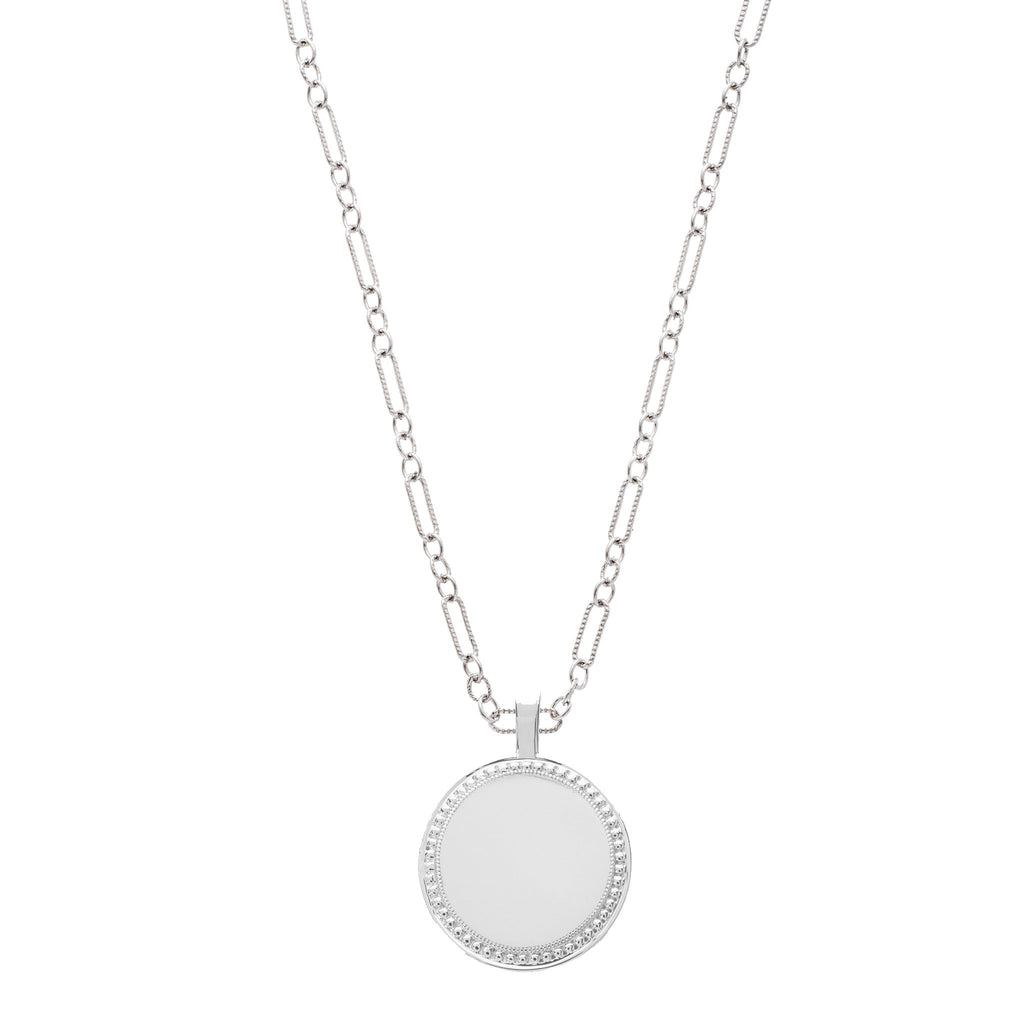 P.S. Large White Gold Round Charm on Figaro Chain
