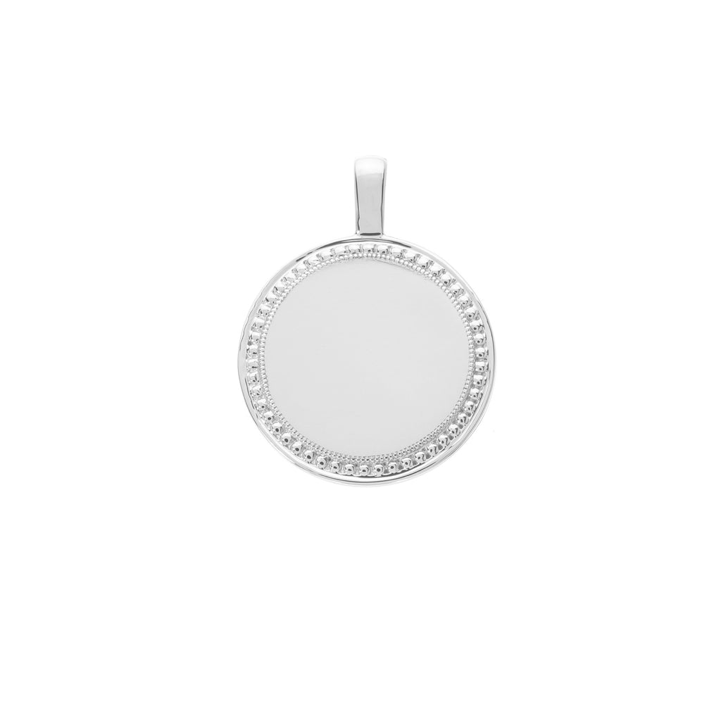 The PS Round Charm Large 18K White Gold