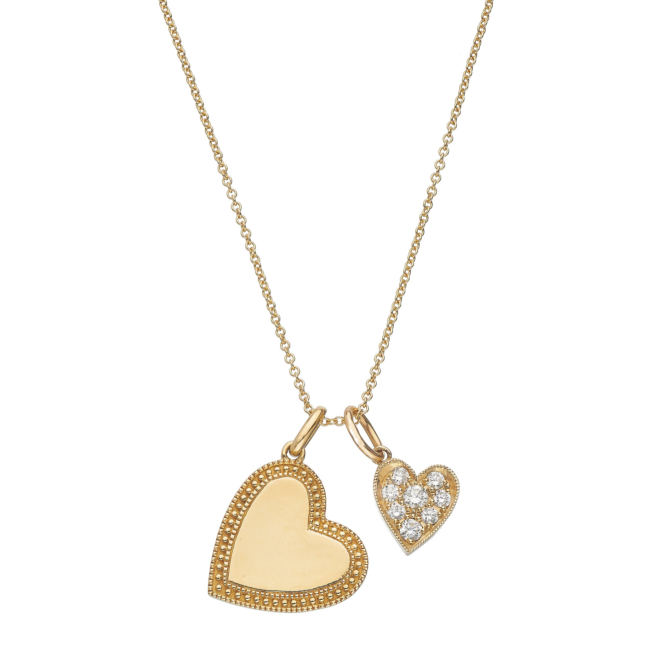 P.S. Yellow Gold Heart Charms on Oval Link Chain