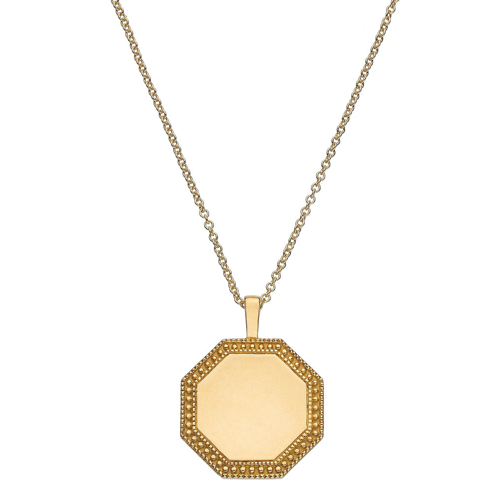 P.S. Soleil Yellow Gold Octagon Charm with Oval Link Chain