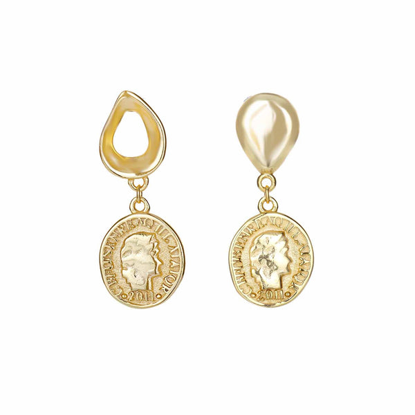 Gold Sixpenny Coin Earrings