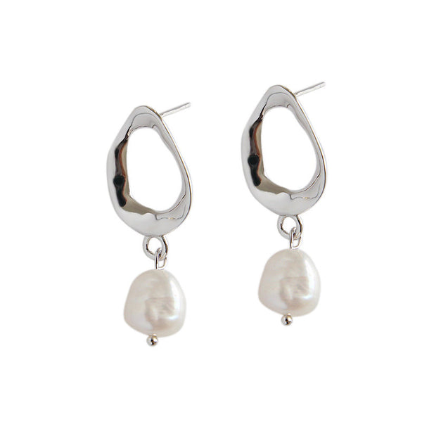 Natural Pearl Oval Earrings