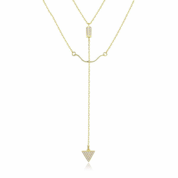 Gold Bow & Arrow Lariat Necklace