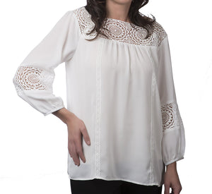Solid Blouse With Crochet Detail and Elastic Cuff