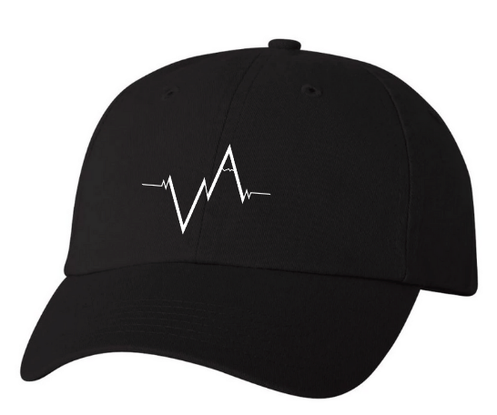 Black Dad Hat Heartbeat