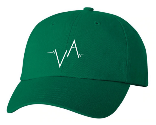Green Dad Hat Heartbeat