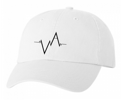 White Dad Hat Heartbeat