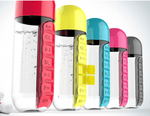 "PILL ORGANIZER BOTTLE - 2 in 1 ""Pill Box and Water Bottle"""