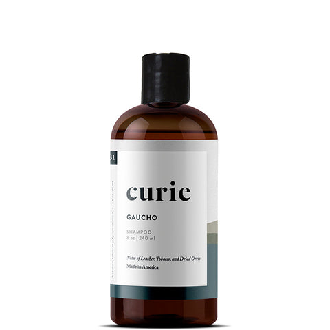 Paraben free, sulfate free, non-toxic shampoo from Curie. Made with our signature artisan fragrance, Gaucho.