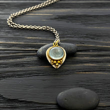 Load image into Gallery viewer, 19k gold and silver Etruscan revival charm necklace with granulation. Blue tourmaline cabochon