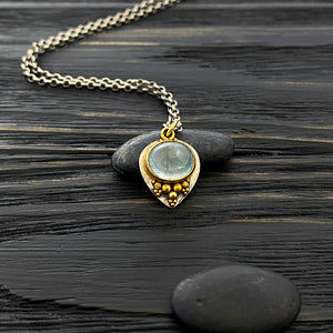 19k gold and silver Etruscan revival charm necklace with granulation. Blue tourmaline cabochon