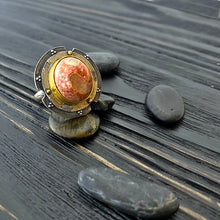 Load image into Gallery viewer, Large boulder opal shield ring with 19k gold and oxidized silver. side view