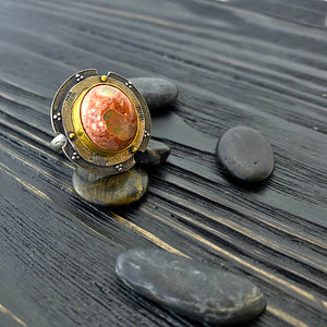 Large boulder opal shield ring with 19k gold and oxidized silver. side view