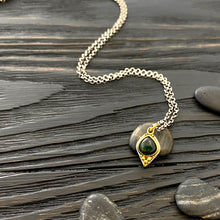 Load image into Gallery viewer, 19k gold and silver Etruscan style 'a grappolo' charm necklace with dark green tourmaline