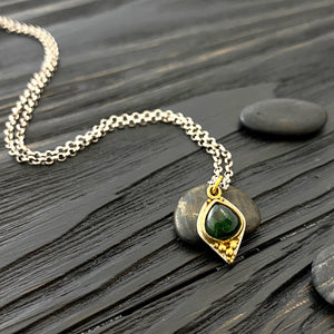 Green tourmaline Etruscan revival charm necklace with high carat gold granulation