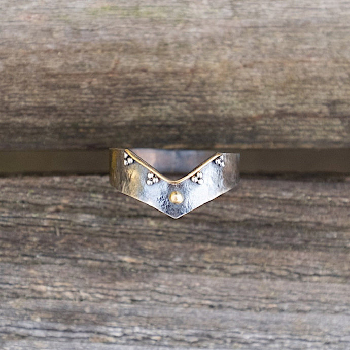 22k and textured silver chevron stacking ring with granulation