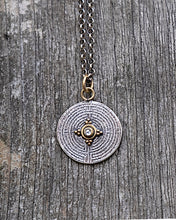Load image into Gallery viewer, Diamond and 18k gold labyrinth charm necklace